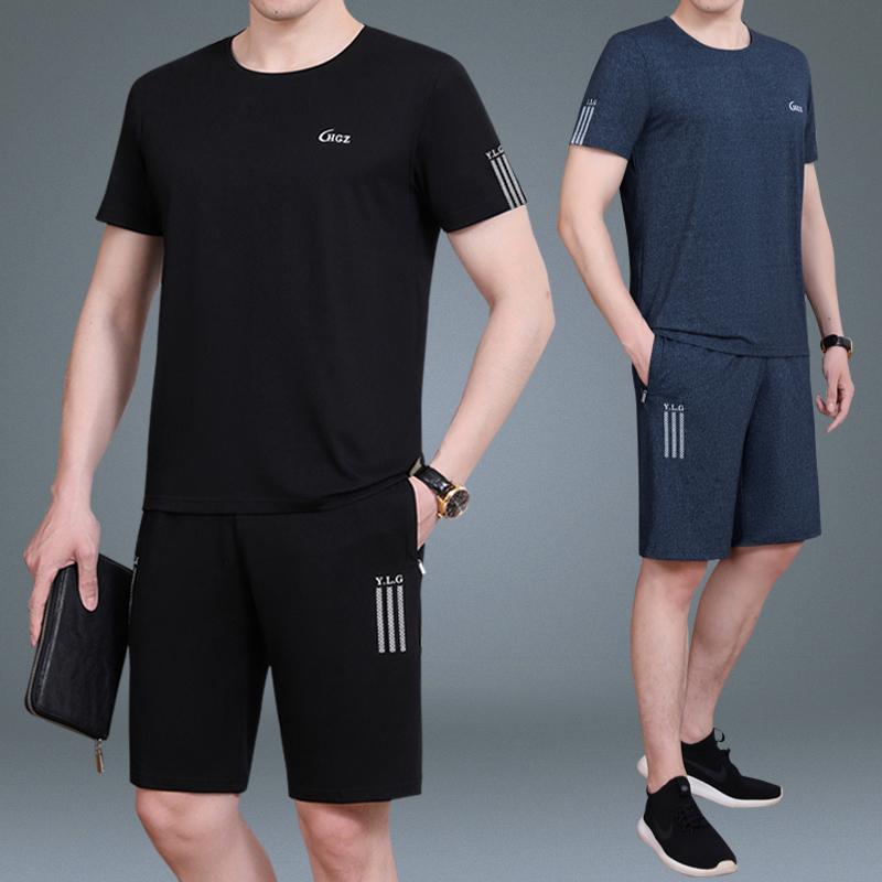 Мужской спортивный набор наряд лето в пожилых шорты большой двор случайный отец устанавливается в год бег движение одежда мужчина