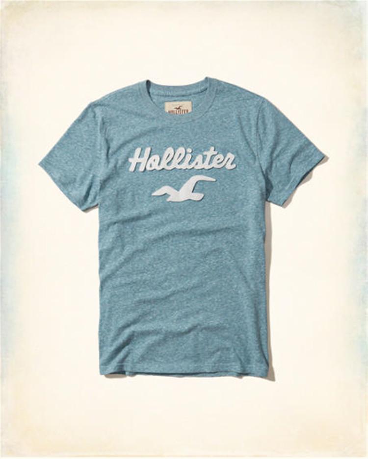 夏季新款Hollister男款圆领t恤海鸥修身v圆领纯棉V领hco短袖半袖潮