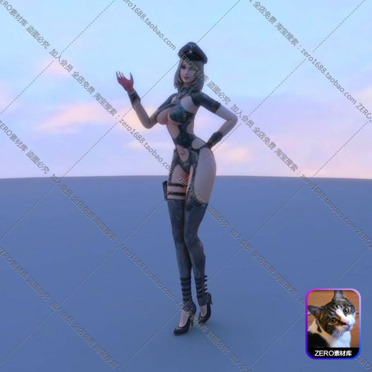 女警察人物3D模型素材 Maya格式含贴图表情绑定Mb/Obj c4d