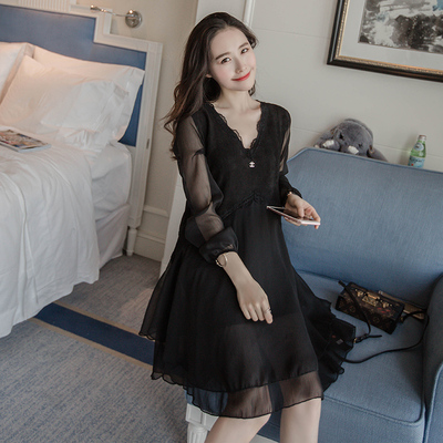200 kg fat mm lace stitching chiffon dress 2017 spring XL women's long paragraph A word bottoming shirt