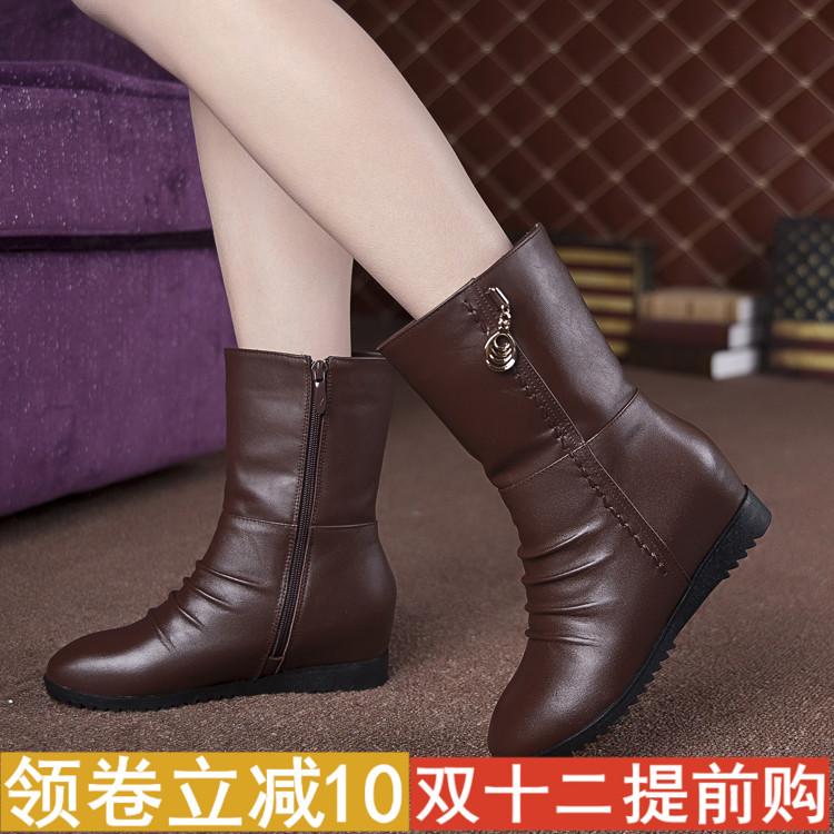 冬季真皮女靴坡跟短靴内增高棉靴防滑平底中筒靴子加绒棉皮鞋单靴