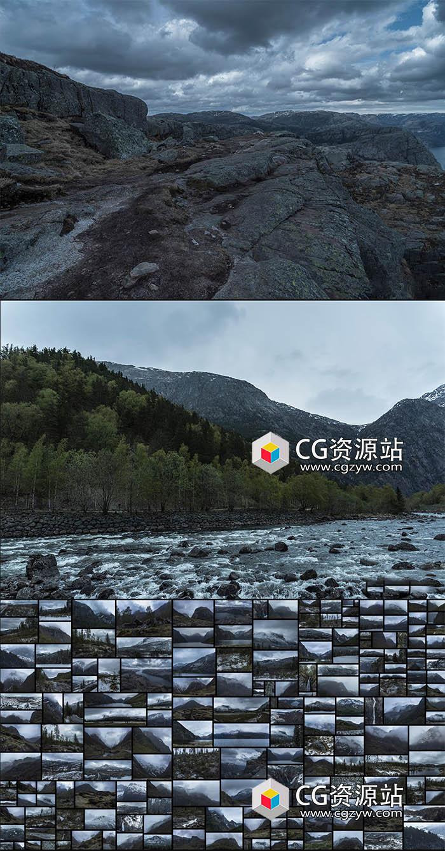 515组自然环境湖泊迷雾笼罩山谷瀑布广阔松树林高清图片合集