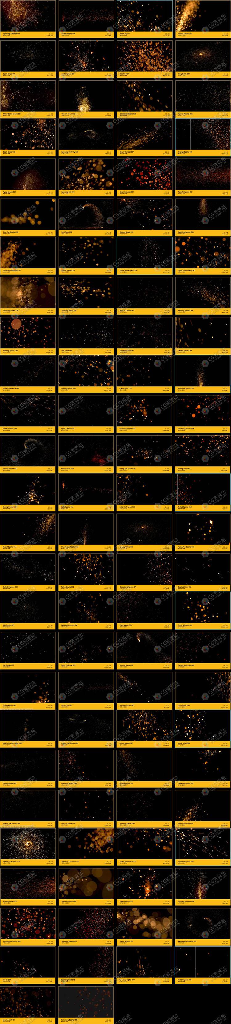 100组4K火光火花背景特效合成高清视频素材 BB 04