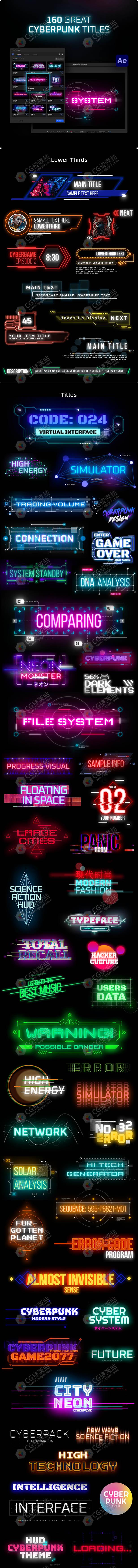 AE脚本-160+赛博朋克科幻未来文字标题标注背景视频包装动画