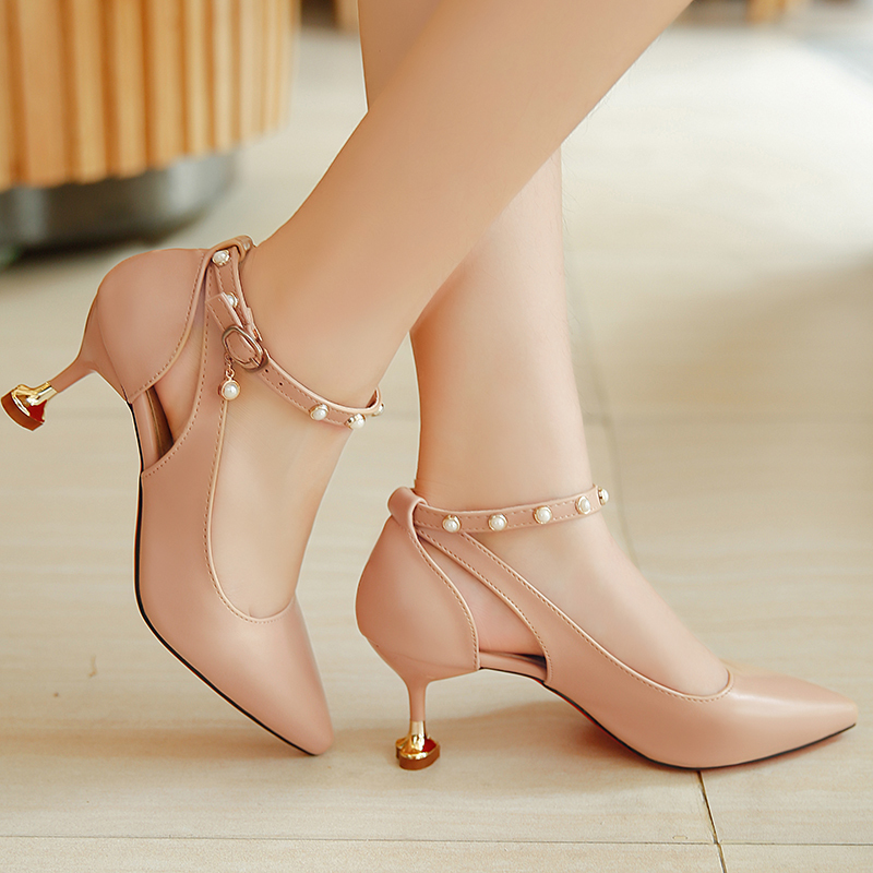 804701df1 2019 new sandals spring and summer Korean fashion high heels fine with cat  heels word buckle pointed with women s shoes