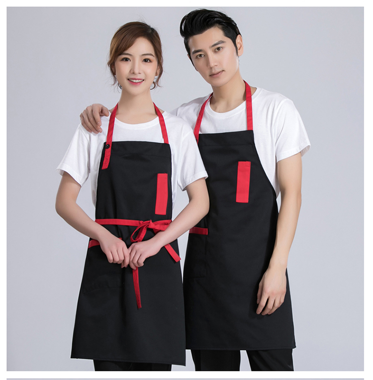 帆布围裙无袖挂脖情侣家居烘焙咖啡厨师西餐厅男女工作服