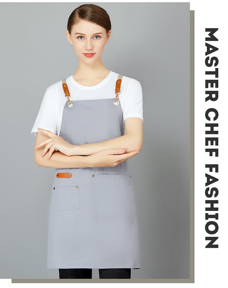 挂脖中长款围裙双口袋耐用耐磨可调节男女通用做饭家居定制LOGO
