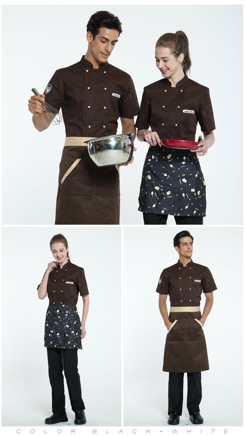 厨师服短袖夏装餐饮食堂制服酒店后厨男女饭店西餐厅蛋糕店工作服
