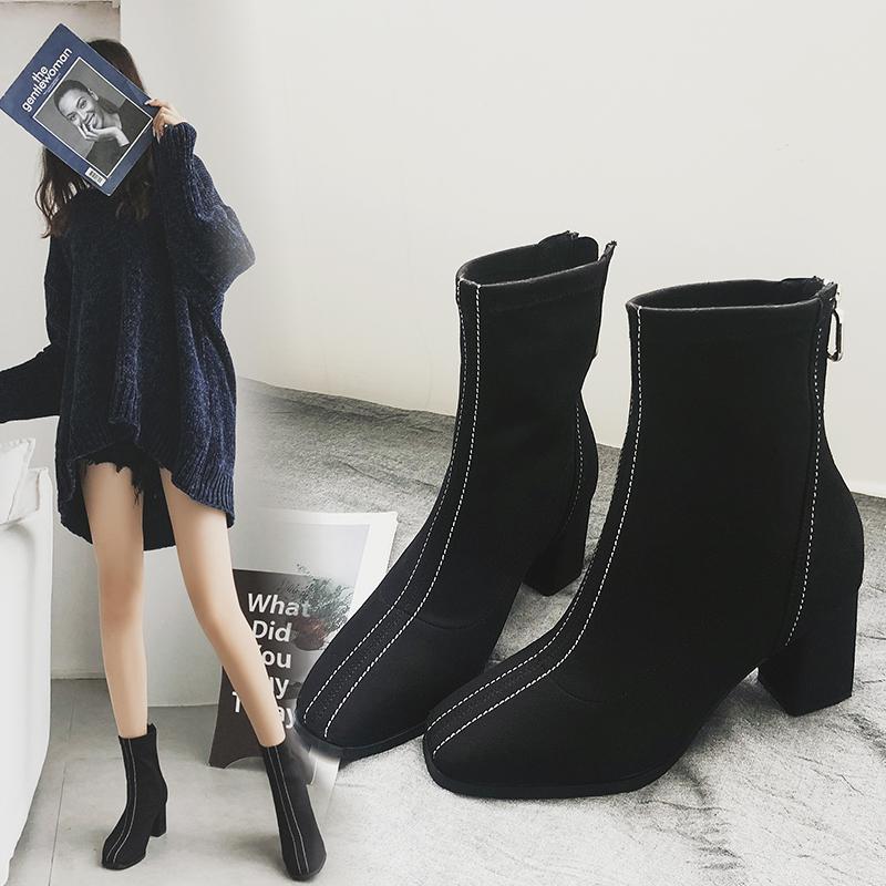 JPAI靴子女2018新款方头中跟短靴女粗跟加绒磨砂高跟网红瘦瘦靴冬