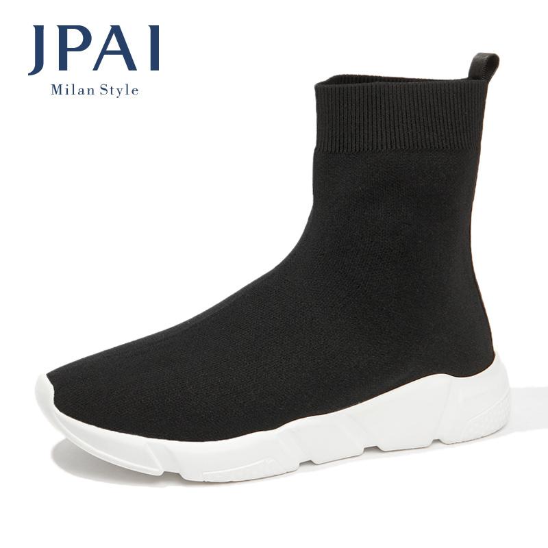 JPAI冬季新款弹力袜子鞋女加绒厚底运动休闲ins超