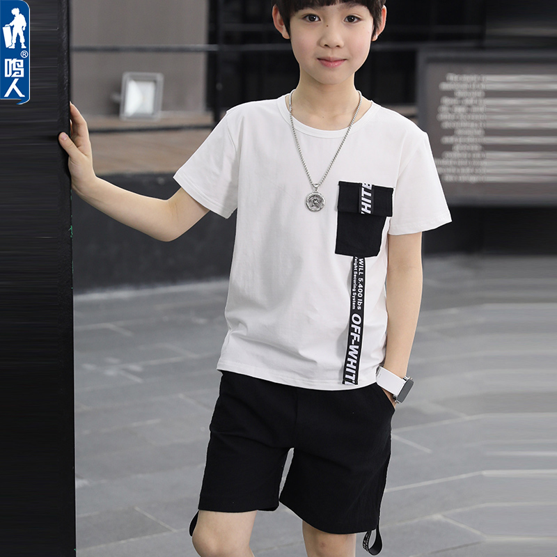 65060d99a66 Boy summer suit handsome 2018 summer new children s clothing children s  short-sleeved sports two-piece suit in the big boy tide clothing
