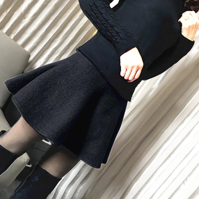 黑色新款韩版裤裙呢半身蓬蓬裙羊毛裙短裙高腰伞裙防走光秋冬摆裙