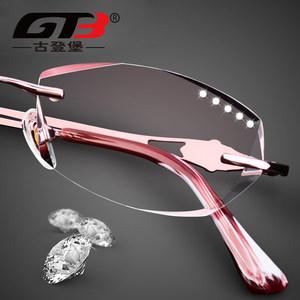 古登堡 近视眼镜 眼镜架 眼镜框女 无框切边韩版潮含镜片成品