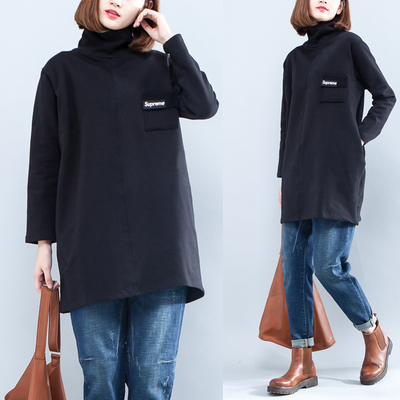 Large size women plus velvet bottoming shirt 2017 autumn and winter new fat little mm loose collar long-sleeved sweater in the long section