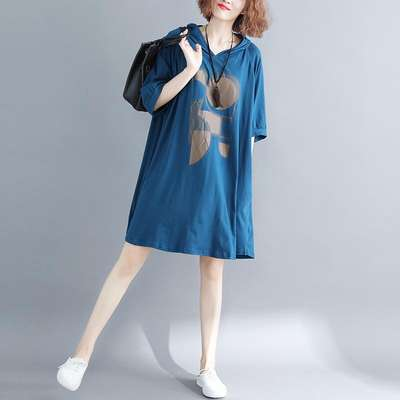 Age-reducing women's 2019 summer new Korean version of the loose large size hooded t-shirt dress was thin and medium-sized