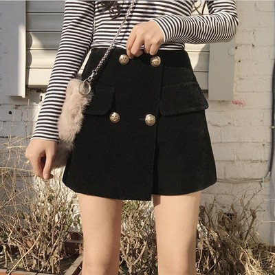 2017 autumn and winter new flat cashmere A word skirt pants waist skirt thin skirt black student skirt women