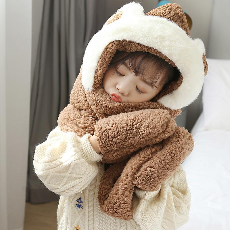 儿童帽子围巾一体秋冬2021新款宝宝男女童可爱小熊保暖毛绒三件套