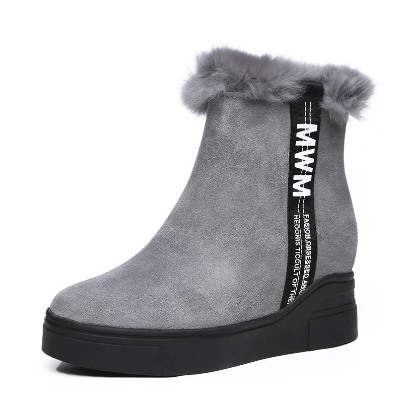 OBONCHI/欧邦驰真皮靴加绒加厚雪地软底舒适坡跟内增高靴子短女士