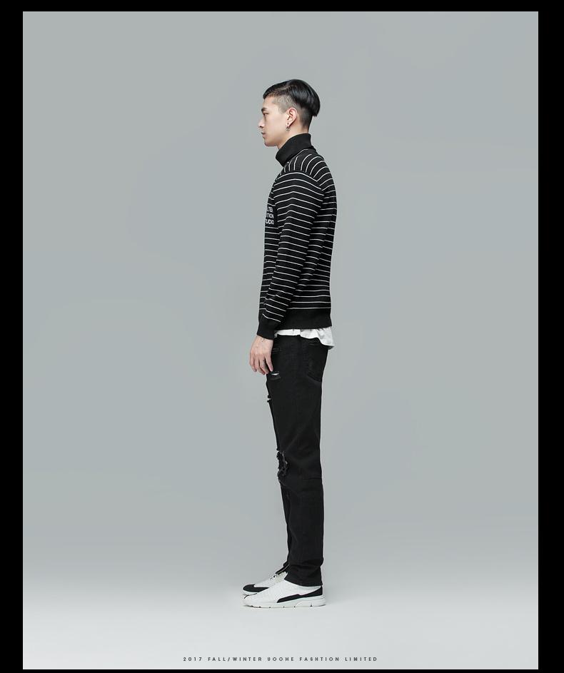 UOOHE cao cổ áo len nam thời trang giản dị thanh niên cơ sở dài tay áo của nam giới áo len thể thao