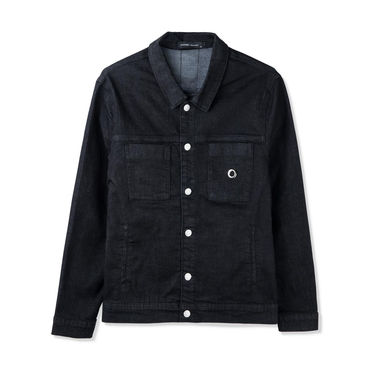 UOOHE2017新款牛仔夹克衫男 欧美时尚潮牌外套青年帅气个性外衣男