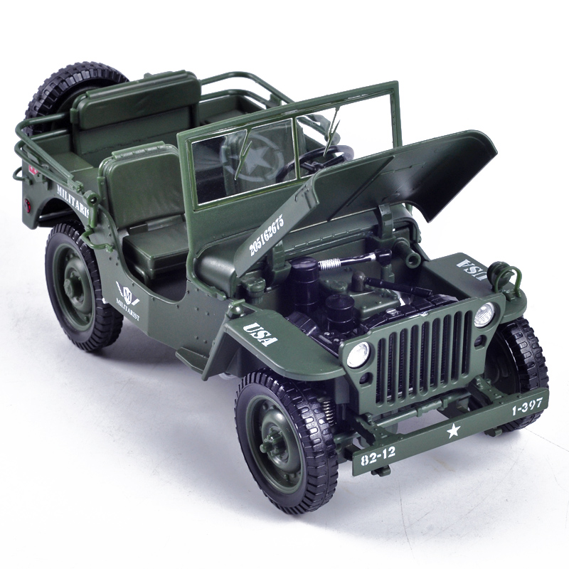 Keddy military tactical jeep alloy model 1:18 vintage WWII Willis ...