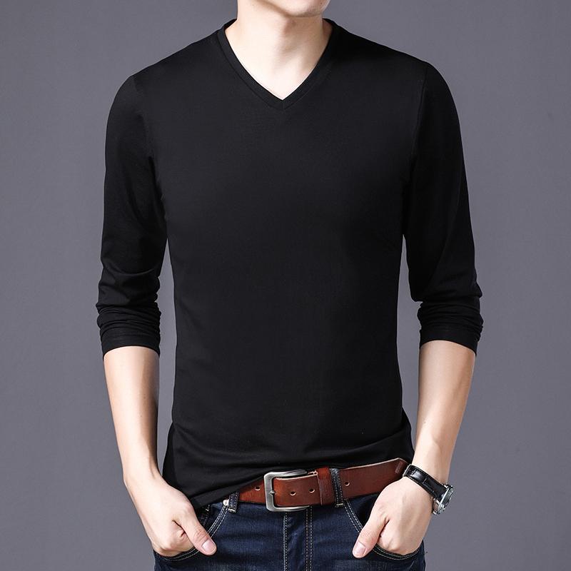 2018初秋季纯色长袖T恤男时尚都市男装纯白色 型男打底衫韩版潮流