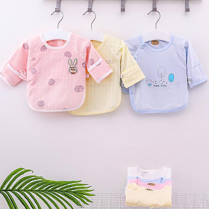 初生宝宝上衣服夏季纯棉新生儿和尚半背衣衣服薄款婴儿纱布单件