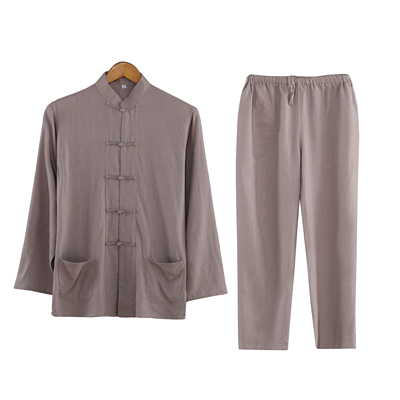 Men's long sleeved suit, middle-aged and old cotton and linen, ancient monks, Hanfu, Zen uniform, father's clothes.