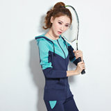 Spring 2021 new women's South Korean silk casual sports suit women's slim color matching running sportswear two-piece suit