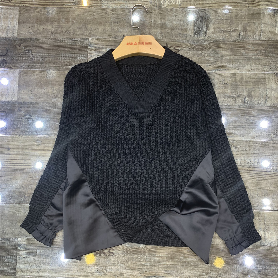 Европейские станции 2019 новинка зимний осеннний женщины мода v с длинными рукавами дизайн сращивание свободный уютный свитер свитер 604279693434