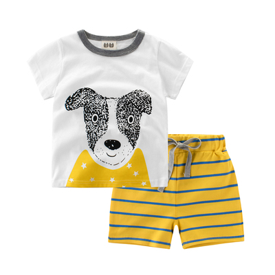 2017 children's clothing Korean version of the new children's summer short-sleeved suit cotton compassionate clothes baby sportswear casual wear