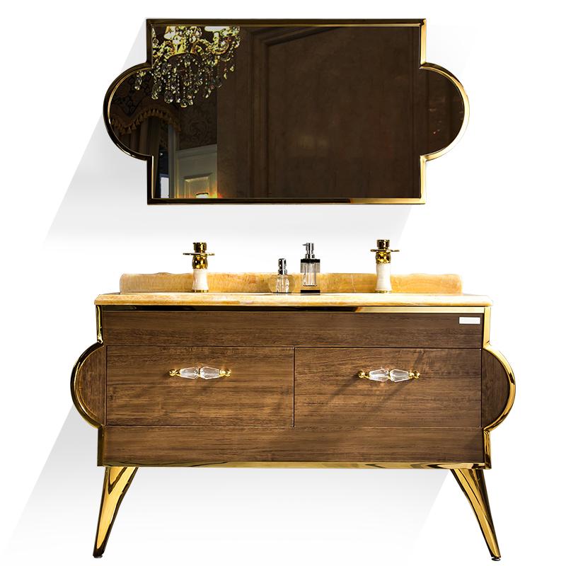 304不锈钢落地浴室柜组合天然大理石双台盆卫浴柜洗脸盆豪华欧式