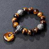 Car pendant natural tiger eye stone double brave stalls beads car hanging jewelry car interior bracelet jewelry