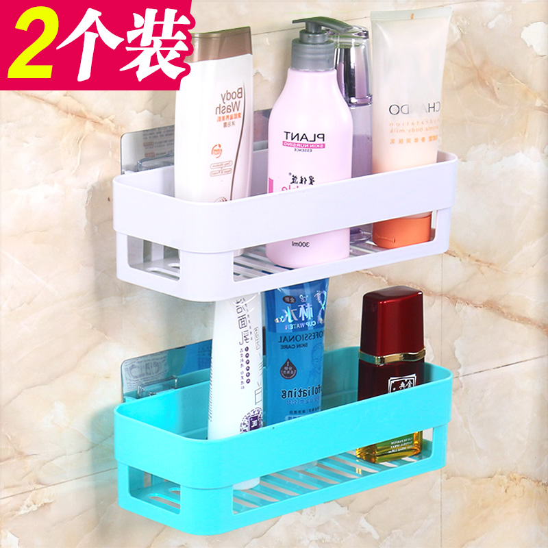 卫生间置物架壁挂浴室吸壁式厕所收纳架吸盘洗漱台免打孔用具用品