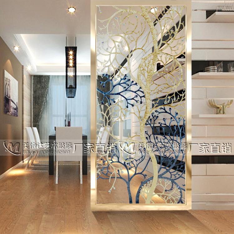 Custom Art Glass Porch Living Room Partition Carving Craft
