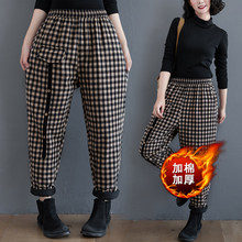 Winter quilted thick warm cotton pants for women's outer wear 2020 new retro cotton and linen plaid all-match casual straight-leg pants