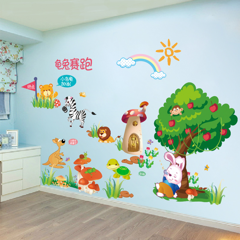 Wallpaper self-adhesive wall stickers children\'s bedroom wall stickers baby  baby room decoration wall stickers wall paintings animals