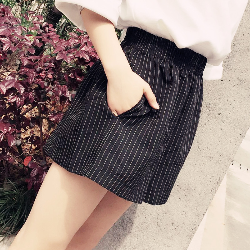2300bb19a89 Suit striped wide leg shorts female summer Korean loose high waist casual  hot pants sports large size a word skirt pants