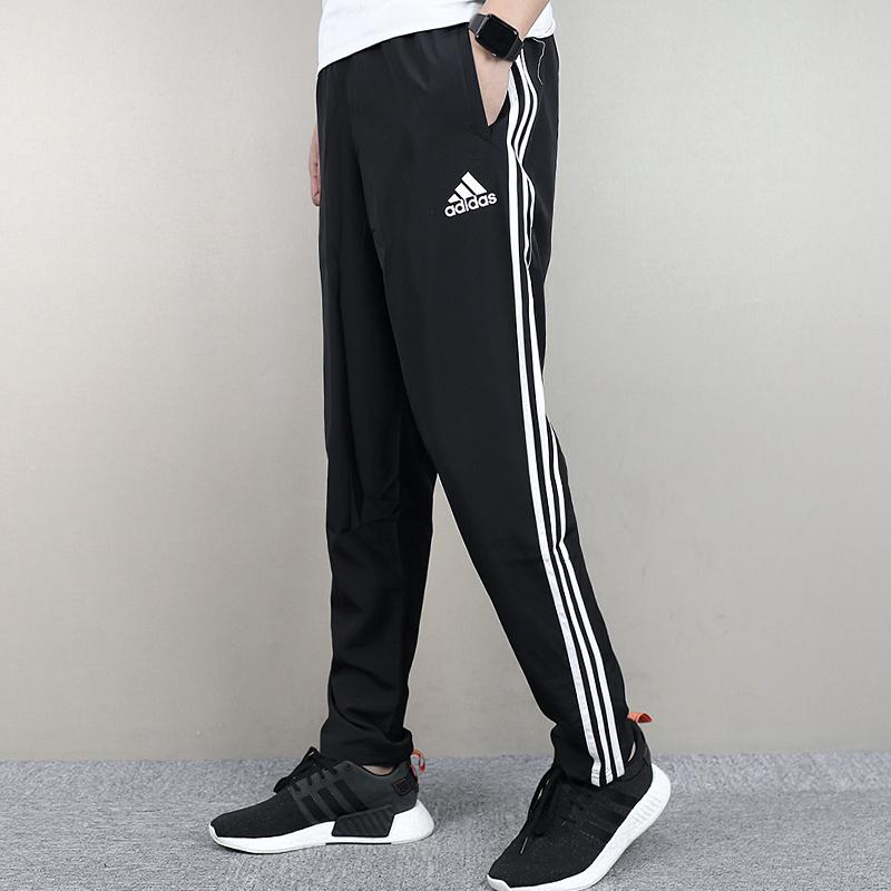 梭织阿迪达斯男裤2018冬季新款休闲裤直长裤正品运动筒裤BQ6919