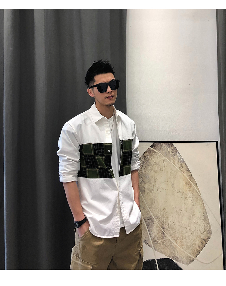Xu Tailang American autumn men's casual splicing grid shirt trend wash a hundred back letter embroidered shirt 46 Online shopping Bangladesh