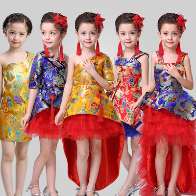 Chinese Folk Dance Girls robes performance show costumes Chinese style trailing evening dress princess dress