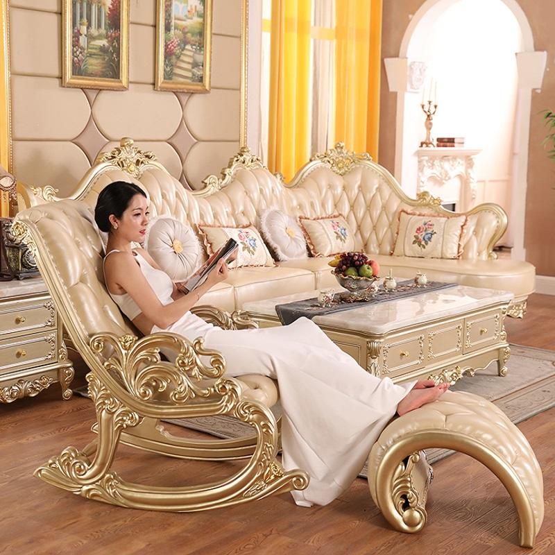 欧式真皮全实木摇摇椅躺椅睡椅子阳台卧室大人逍遥椅沙发休闲家用