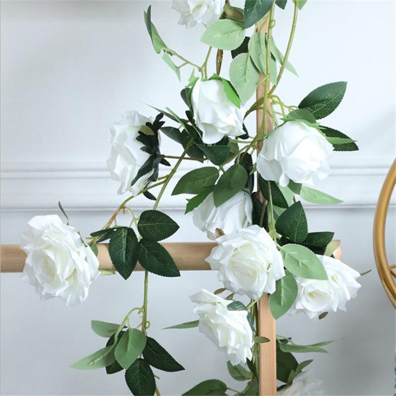 假花 仿真花 花束 1.8米仿真玫瑰花藤 壁掛假花藤條婚慶攝影櫥窗裝飾 裝飾假花 道具花 客廳裝飾 擺設