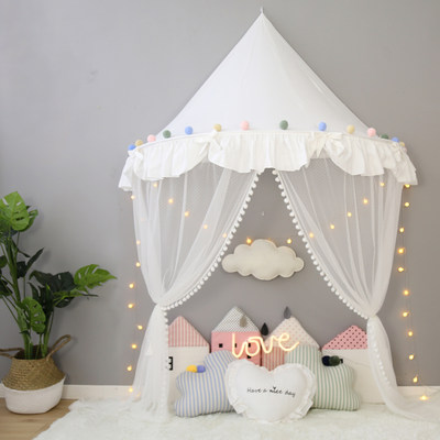 Children's tent wall hanging mosquito net bed curtain bedside hanging net reading corner indoor princess play house pure cotton Nordic