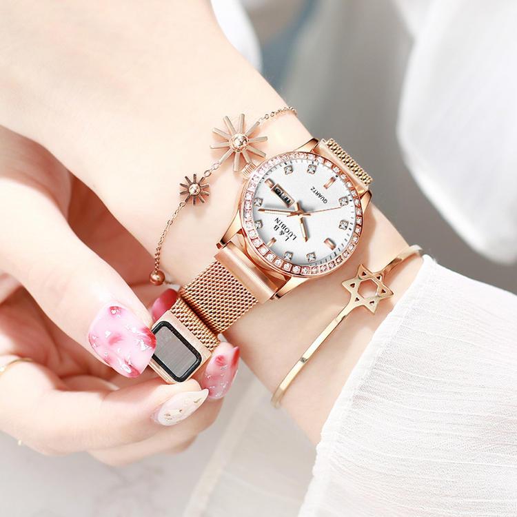 罗宾新款女生简约手表女士休闲石英抖音网红时尚韩版丝带女表钢带