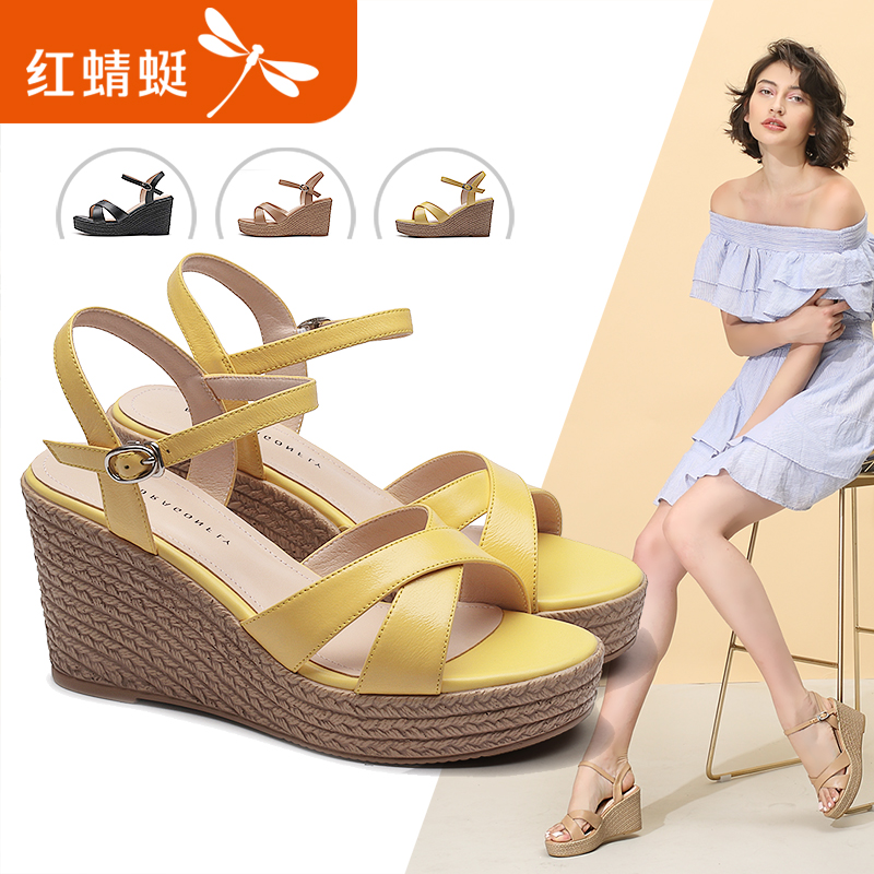 红蜻蜓女鞋2018夏季新款真皮纯色休闲厚底防水台舒适坡跟凉鞋女