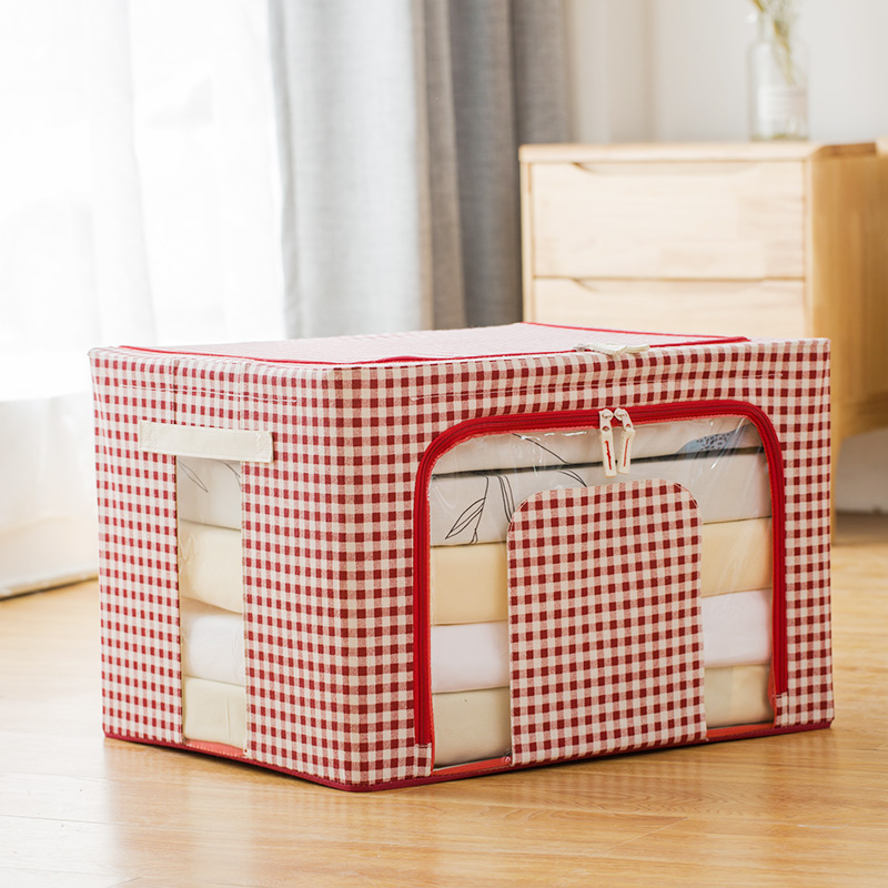 Three generations of odorless cotton and linen thickened four steel frame - red plaid