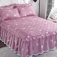 Чистый хлопок клип хлопок утепленный кровать накладка Покрывало нескользящие Кровать юбка один пункт полностью хлопок Защищает от пыли кружева для маленькой принцессы 5 спальных мест один 1