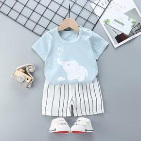 儿童宝宝短袖纯棉韩版套装夏T恤短裤两件套