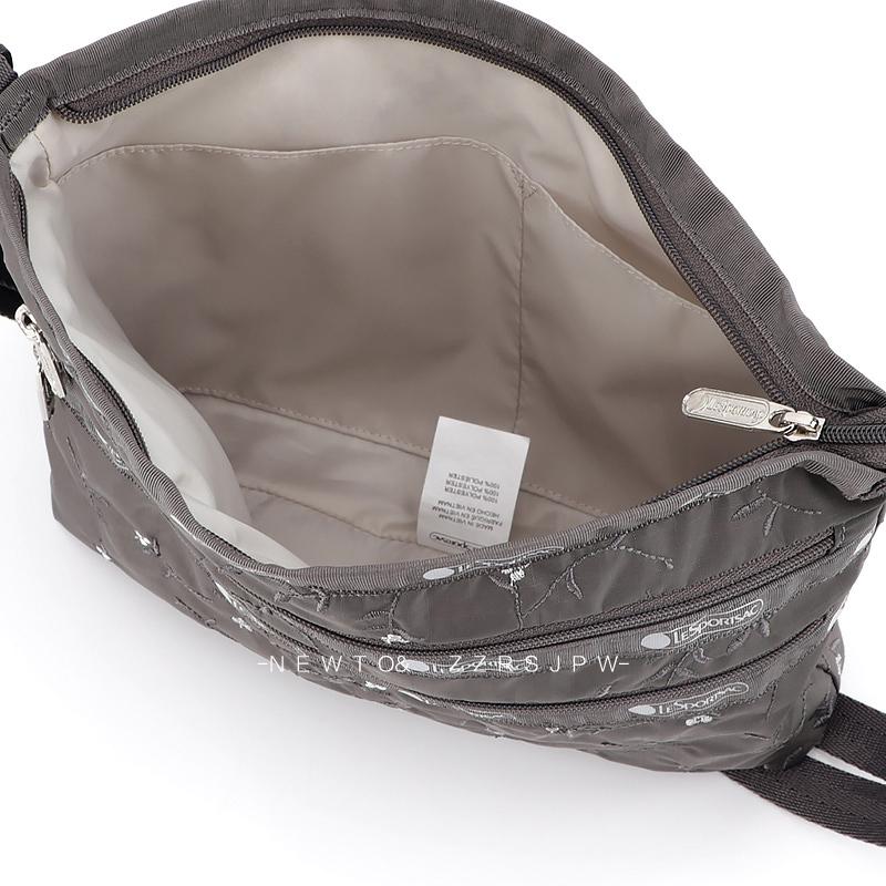 凱莉代購 Lesportsac 3352 刺繡花朵 珠光灰 單肩三層拉鍊 斜背包休閒降落傘防水 輕便 出遊 預購